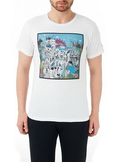 Ruck & Maul  % 100 Pamuklu Baskılı Bisiklet Yaka T Shirt Erkek T Shırt B01M0300071 Beyaz
